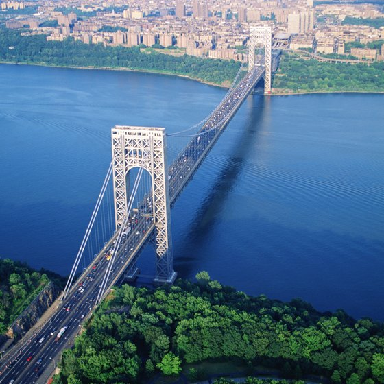 The George Washington Bridge crosses the Hudson River at New York City.
