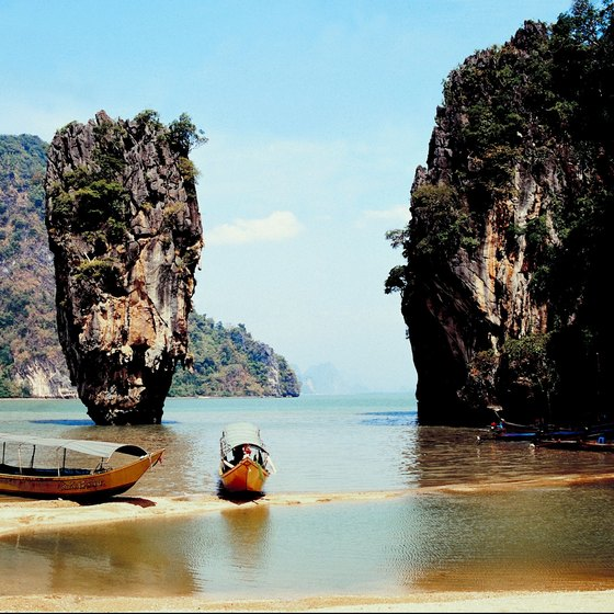 Many of the beaches in southern Thailand are scenic, with rock formations spearing out of the sea.