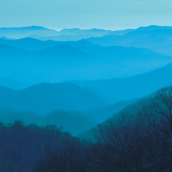 The Smoky Mountains create a bluish view.
