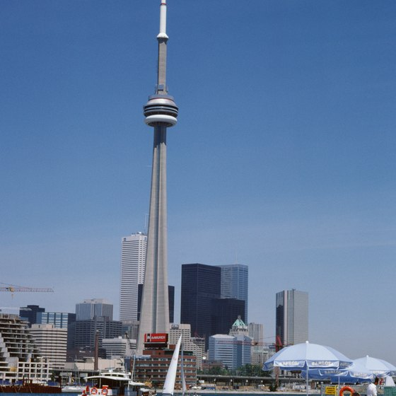Canada features famous buildings such as the CN Tower in Toronto.