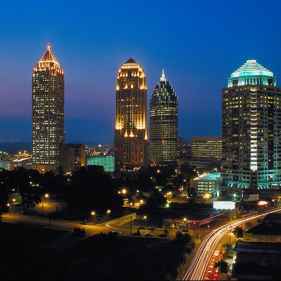 Many romantic Atlanta hotels with whirlpools sit outside the downtown area.