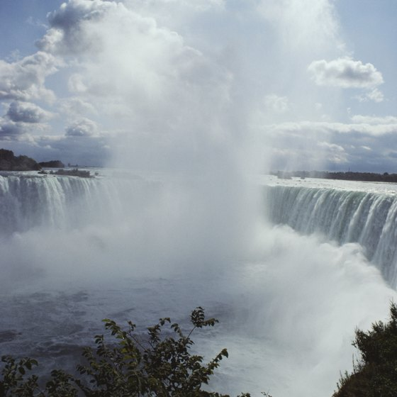 Niagara Falls sits on the border between the United States and Canada.