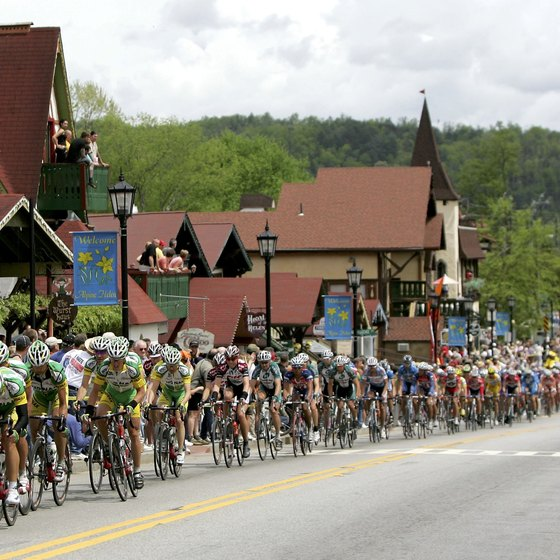 Downtown Helen, as seen during the annual Tour de Georgia.