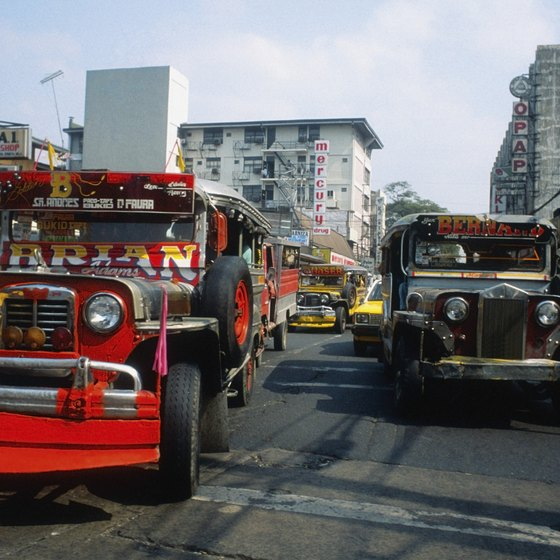 Colorful buses called Jeepneys are a common means of transport in Manila.