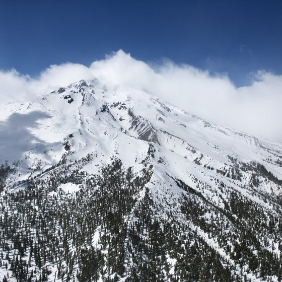 The snowy peak of Mount Shasta creates plenty of runoff for the streams and waterfalls below.