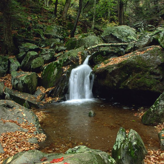 Hiking trails along the Skyline Drive lead to waterfalls like this one in the Shenandoah National Park.