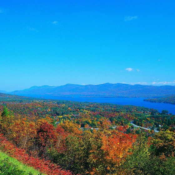 The Adirondack Mountains rise above the west side of Lake George.