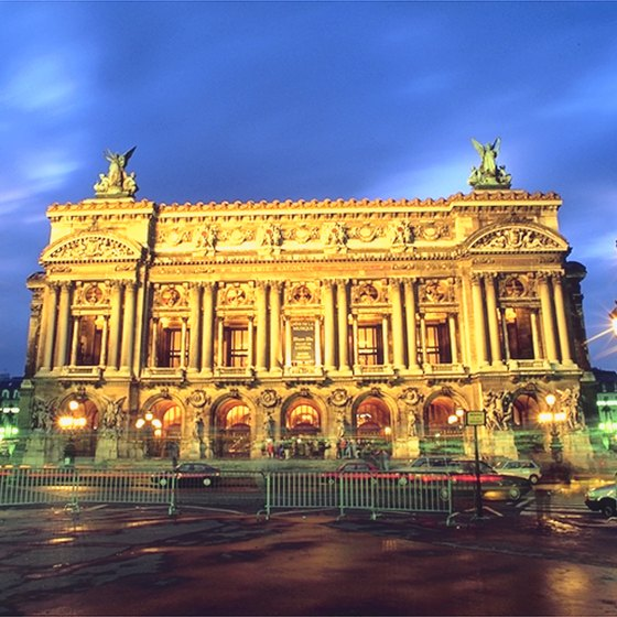 The Paris Opera House lights up the night.