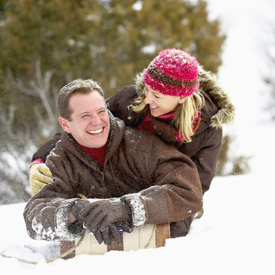 Tobogganing is a cheap and romantic date idea.