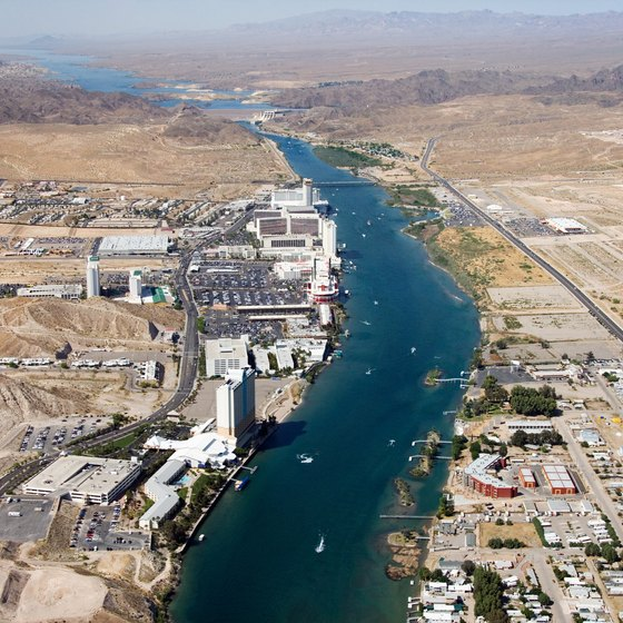 The Colorado River cuts through Laughlin, dividing it from Bullhead City, Arizona.