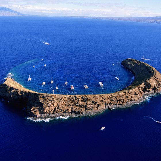 The Molokini Crater during peak visitor hours.