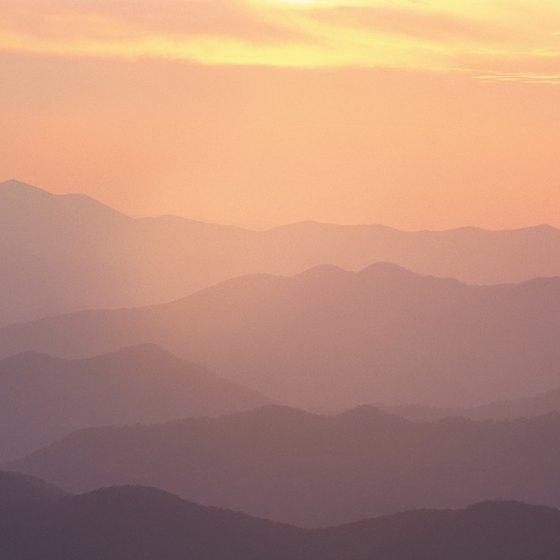 The Great Smoky Mountains rise to the west of Marshall.