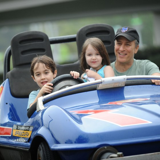 Young children must be accompanied by an adult on rides such as the Tomorrowland Speedway.