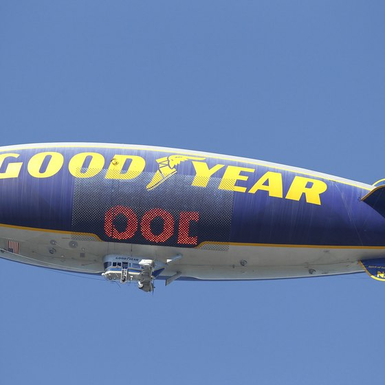The Goodyear Blimp, based in nearby Akron, is a common sight over Cuyahoga Falls.