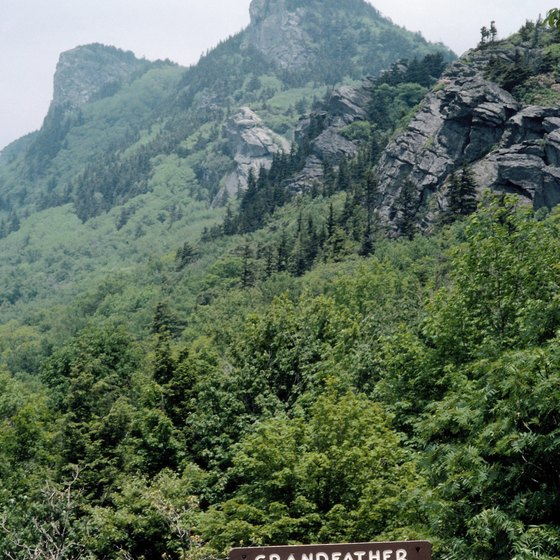The Blue Ridge Parkway winds past Grandfather Mountain.