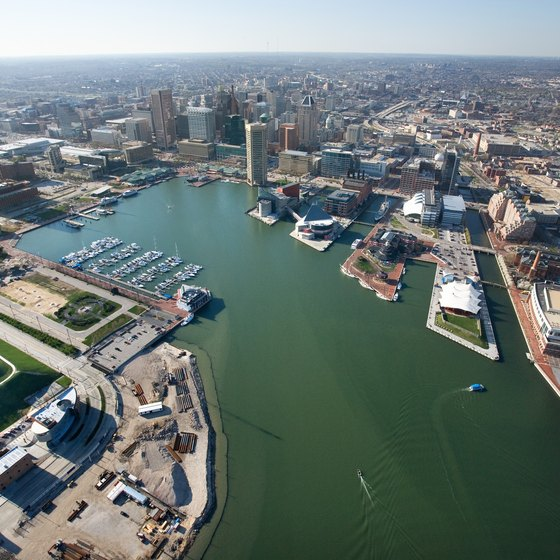 Baltimore's Inner Harbor is less than nine miles from Towson via York Road.
