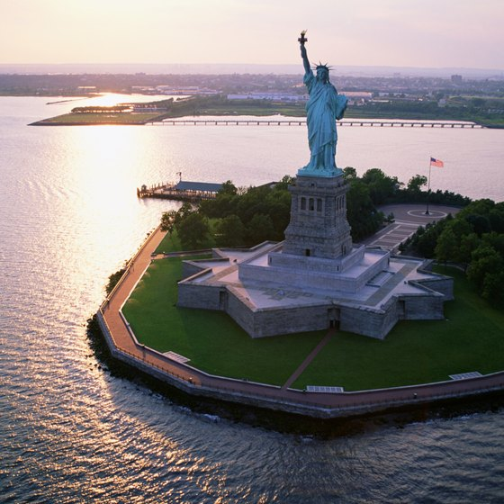 The Statue of Liberty is located on 12-acre Liberty Island in New York Harbor.