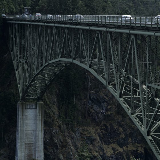 A bridge spans Deception Pass on Whidbey Island.