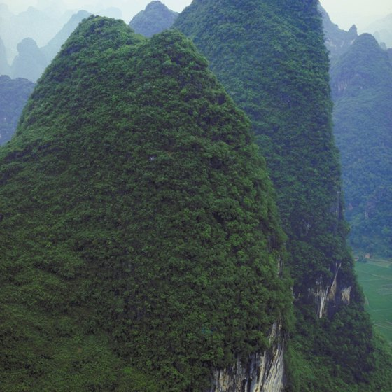 The subtropics of southern China include towering karst landforms.