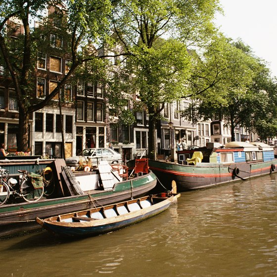 Houseboat barges in Amsterdam.