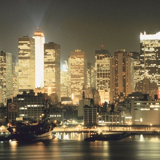 The Manhattan skyline is best seen from a rooftop bar or restaurant.