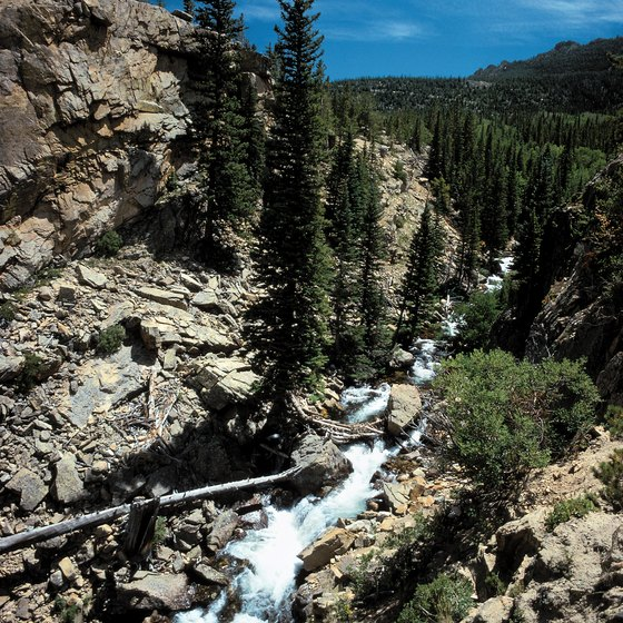 Waterfalls pour down rugged mountainsides near Pagosa Springs.