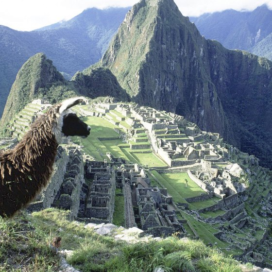 Machu Picchu is a popular tourist attraction in South America in Peru.