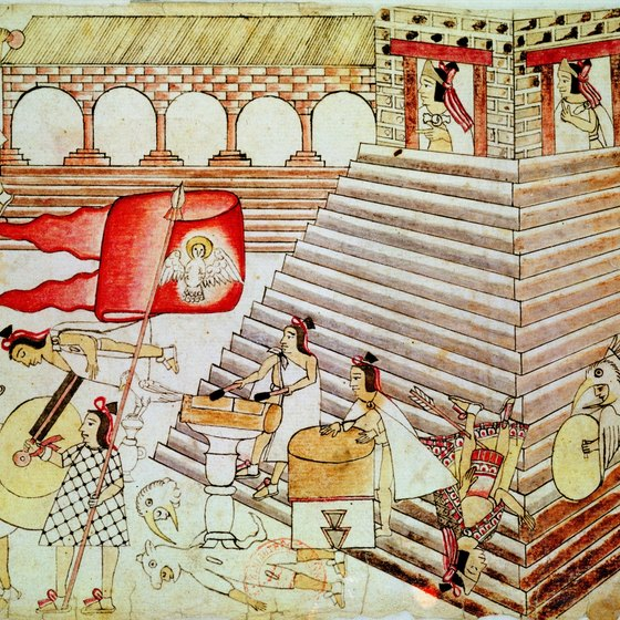 The Templo Mayor of Tenochtitlan stands as evidence of the Aztec empire's pyramids.