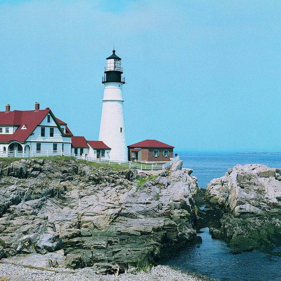 See Maine's stoic coastal lighthouses from the window of a train.