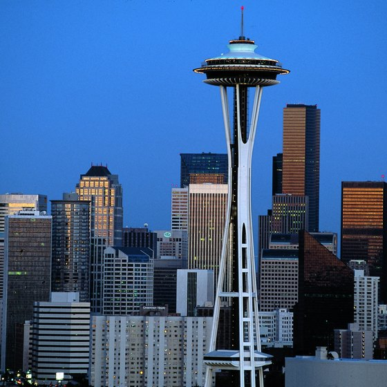 The rotating Sky City restaurant sits atop the Space Needle.