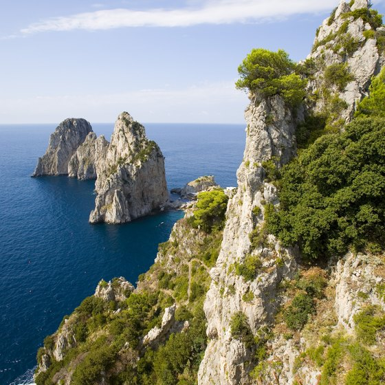 Sheer rock walls rise dramatically from the sea on the isle of Capri.
