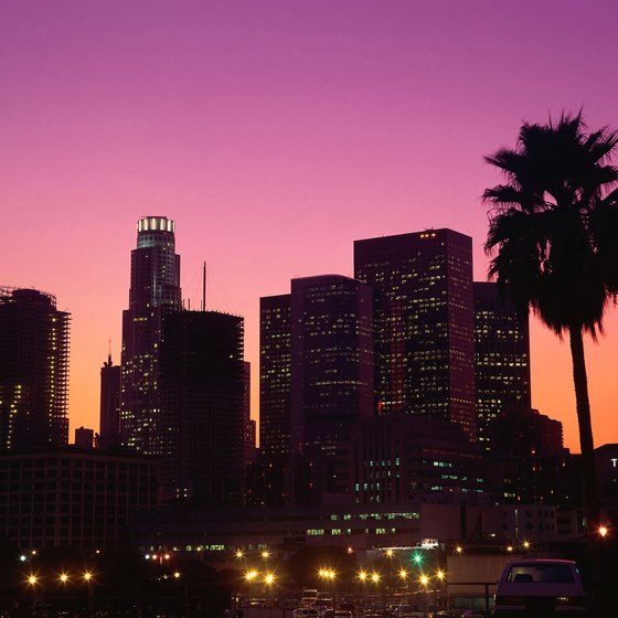 Twinkling city lights sometimes serve as the backdrop for evening picnics in Los Angeles.