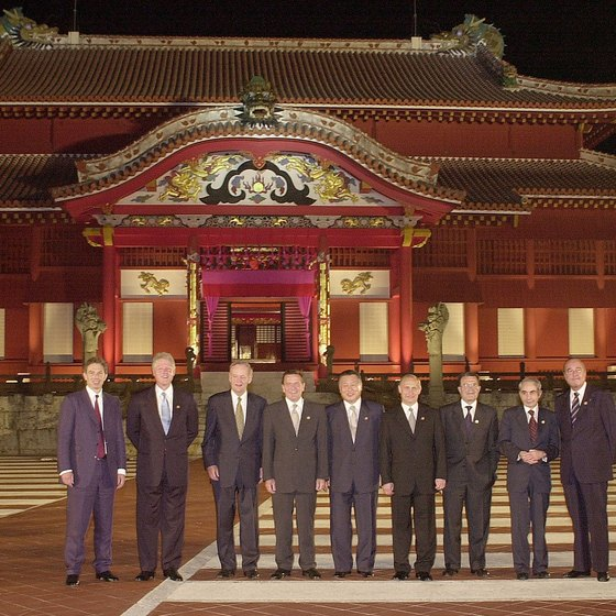 Leaders of the G8 Summit visited Shuri Castle in Naha during their 2000 meeting.