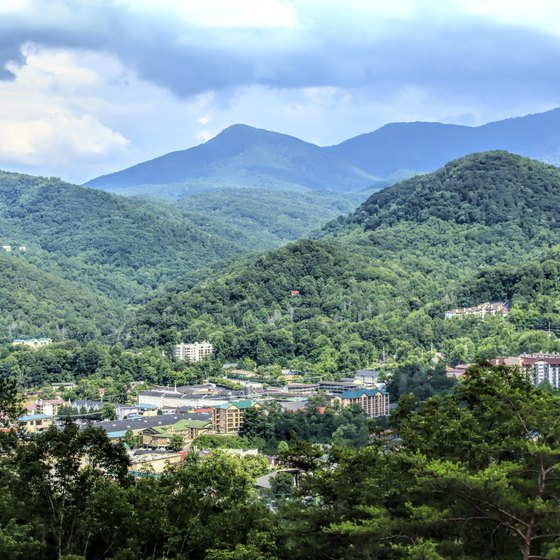 The Great Smoky Mountains rise behind Gatlinburg.