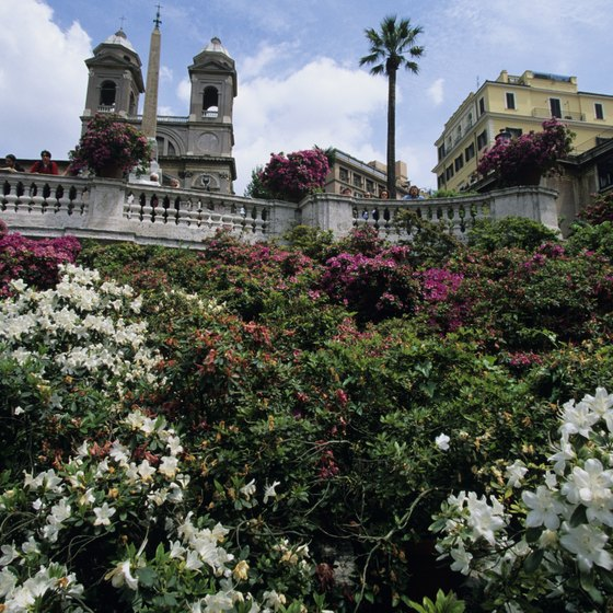 Flowers surround the Spanish Steps in the heart of Rome.