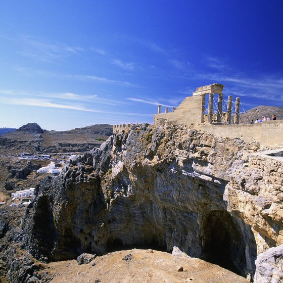 Among the ancient ruins of Greece are pyramids.