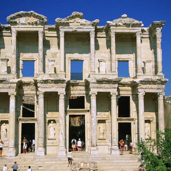 Visit ancient architecture in Turkey, such as the Library of Celsus in Ephesus.