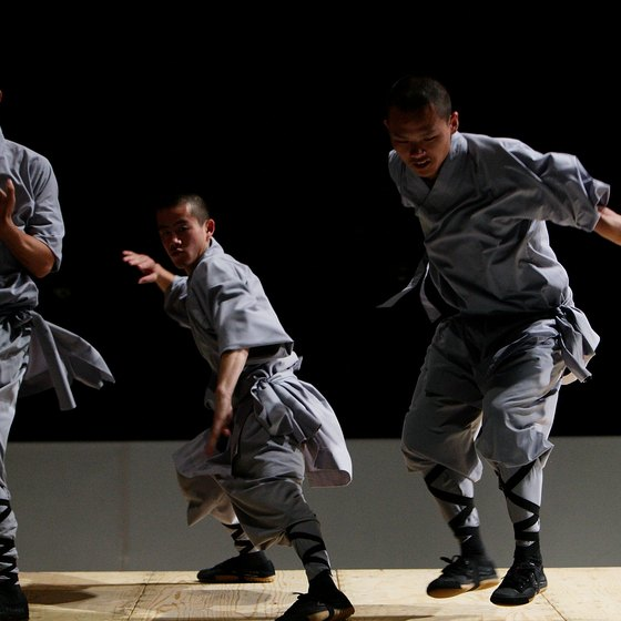 Shaolin monks demonstrate their prowess.