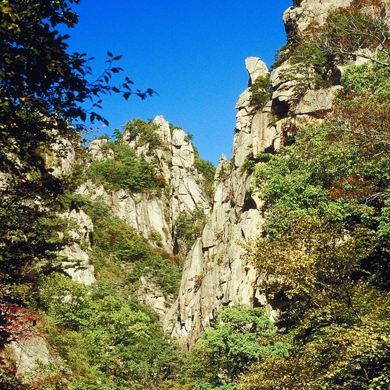 Sorakson National Park in South Korea features rugged rock formations.