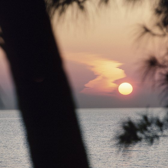 The sun sinks down over the Gulf of Mexico.