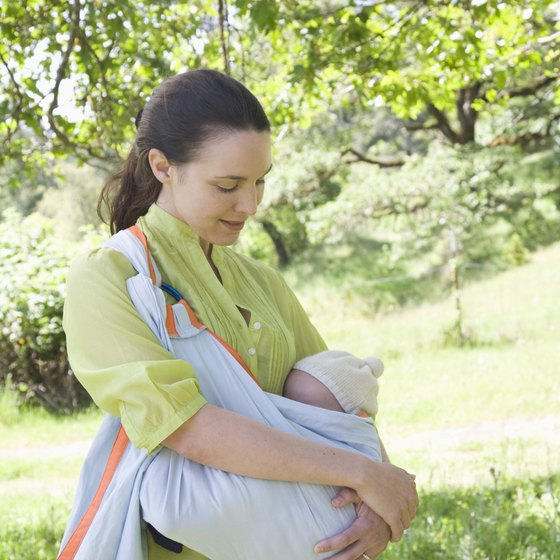 A sling makes traveling with a baby easier.