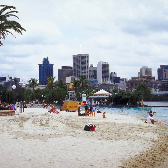 Celebrate Brisbane's architecture from a sandy beach.