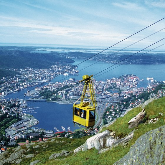 A cable car above Bergen, Norway