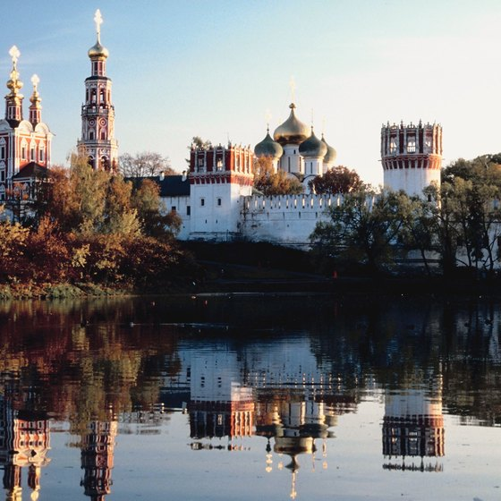 Novodevichy Convent sits at a curve in the Moskva River.
