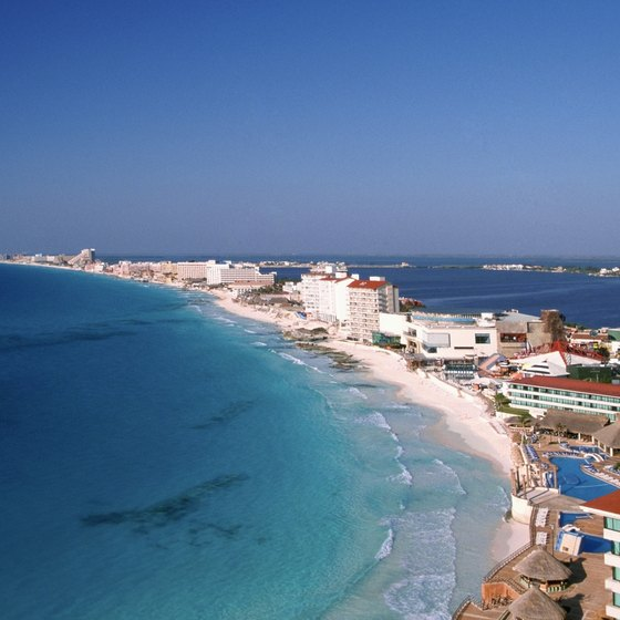 Cancun's hotel zone is located along the Avenida Kukulcan, stretching for miles along the coast.