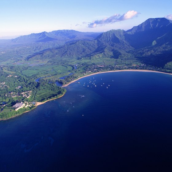 Princeville, on the left, and Hanalei Bay from the air.
