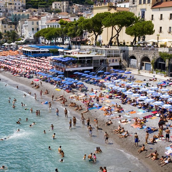 Italy's coastline is dotted with beach towns and spots for swimming.