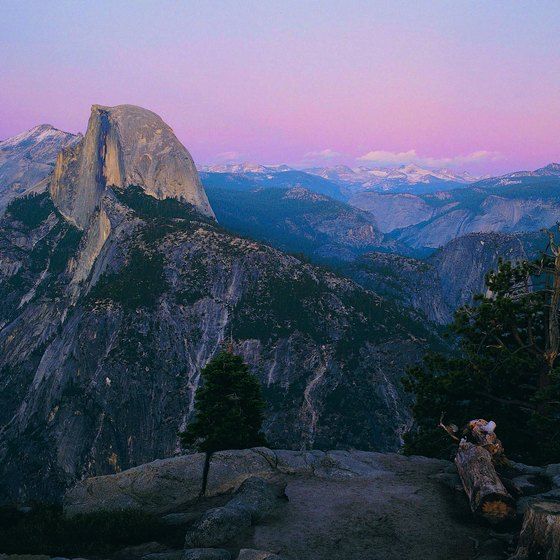 A small cave, or rock shelter, stands at the top of Half Dome in Yosemite.