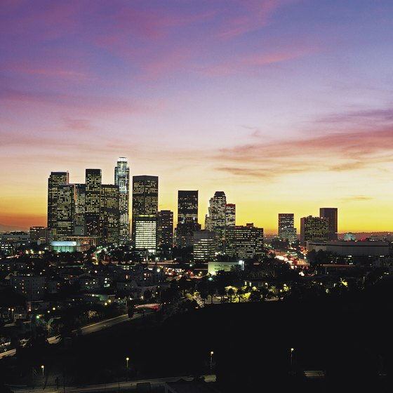 Helicopter tours provide glimpses of the Los Angeles skyline.