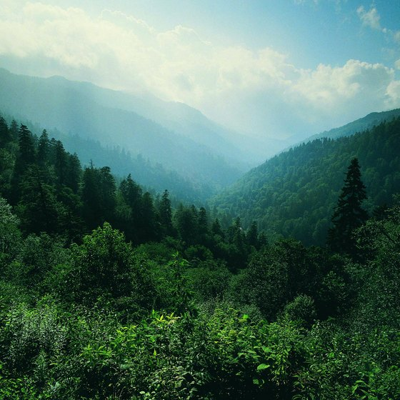 Gatlinburg lies on the west slope of the Great Smoky Mountains.